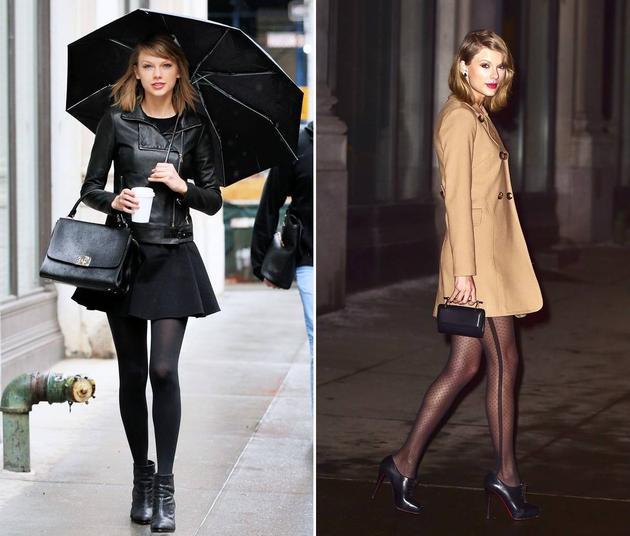 黑色丝袜和透肉丝袜对比