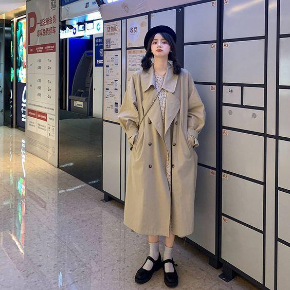 韩风驼色风衣