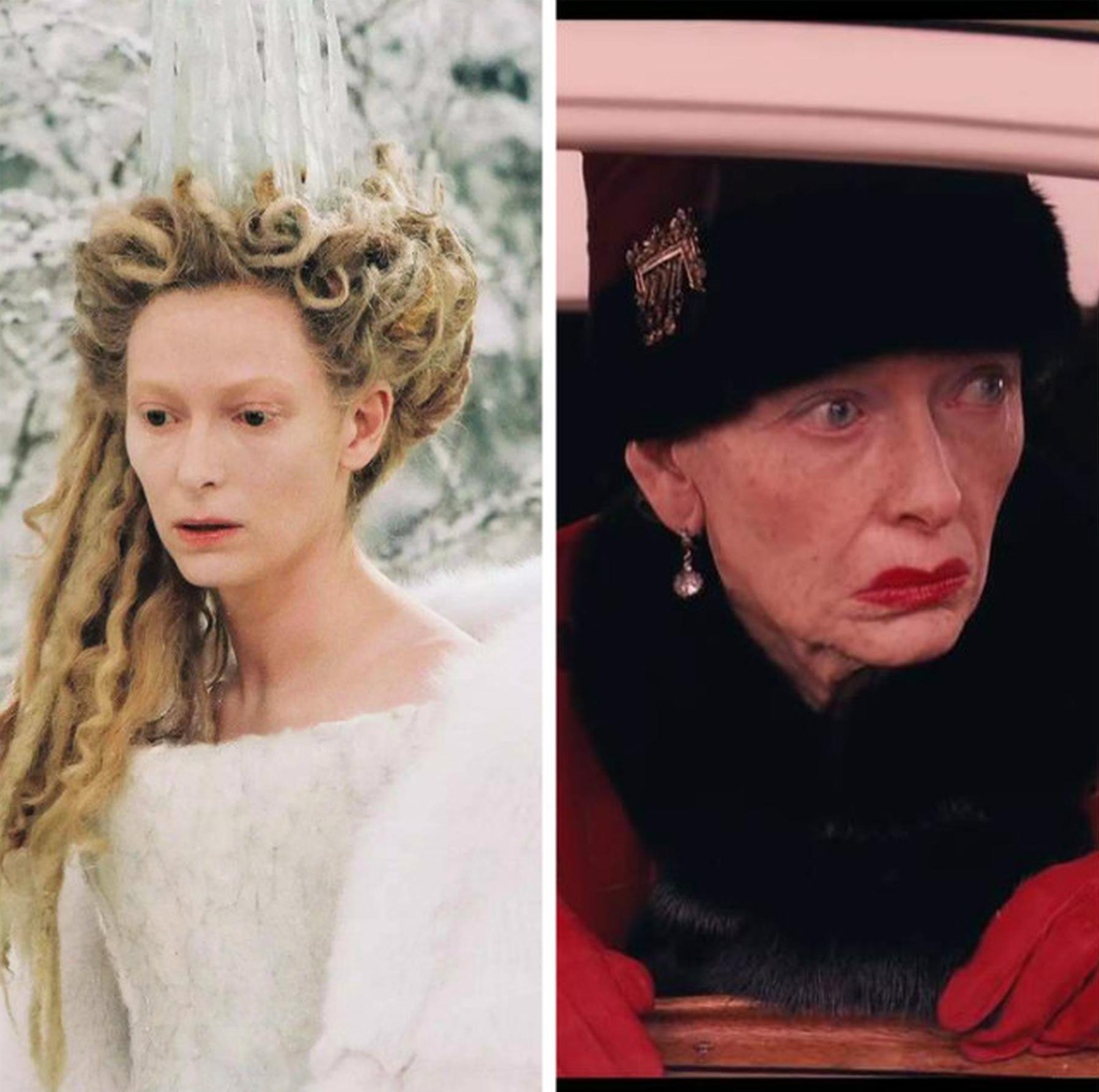 左:蒂尔达饰演《纳尼亚传奇》白女巫 右:蒂尔达饰演《布达佩斯大饭店》老妇人