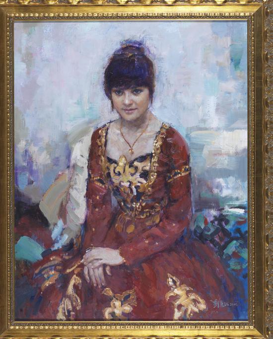 劉秉江《維吾爾族舞蹈家》90cmx70cm 油畫 2011年