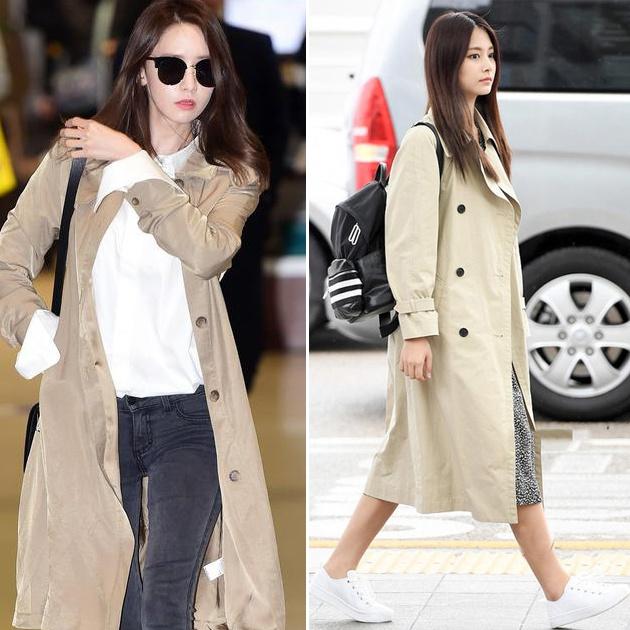 韩国女星风衣街拍