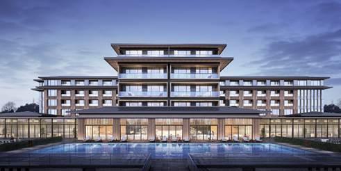 """中国四川""""成都金沙城安纳塔拉酒店""""酒店主建筑外观设计效果图"""