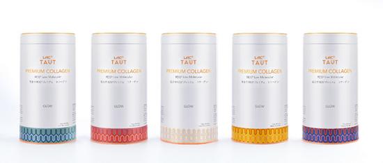 LAC利维喜Taut®回原胶原蛋白粉,RMB 369/罐(每罐2.5g*28条) (从左至右分别为:靛青优雅、绯红热情、醇白浪漫、橙黄活力、青紫神秘)