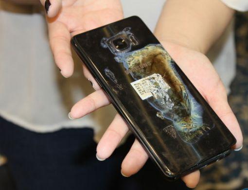 自燃的Note 7手机,图自台媒