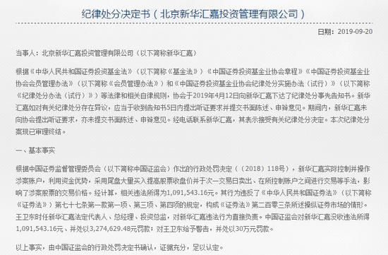 4家私募被取消会员资格 公募老将王卫东新华汇嘉在列