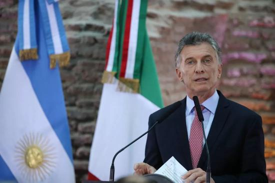 ▲11月29日,阿根廷布宜诺斯艾利斯,阿根廷总统马克里迎接即将参添G20峰会的各国领导人。