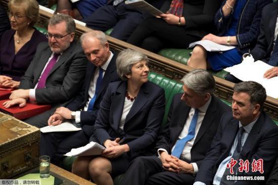 资料图:英国首相特蕾莎·梅在英国议会。