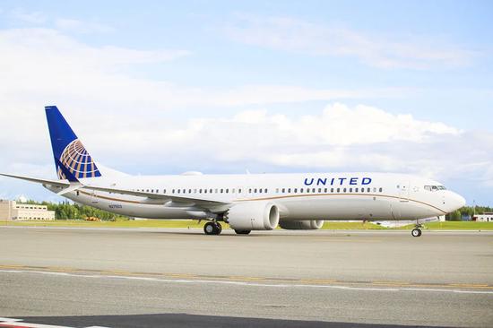 美联航的第一架波音737MAX9客机(图自美联航官网)