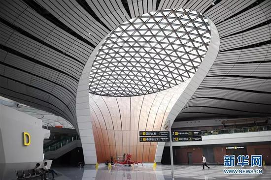 9月4日拍摄的北京大兴国际机场内部。新华社记者 张晨霖 摄
