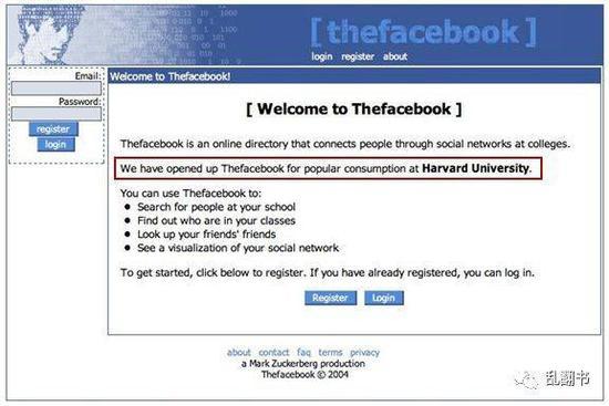 图:Facebook早期注册界面:这是哈佛大学泡妞的地方