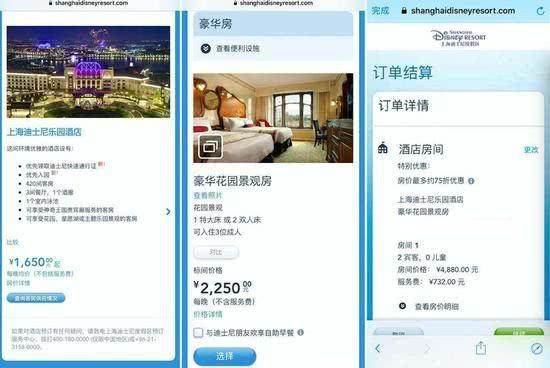 上海迪士尼乐园酒店均价和实际预订价对比