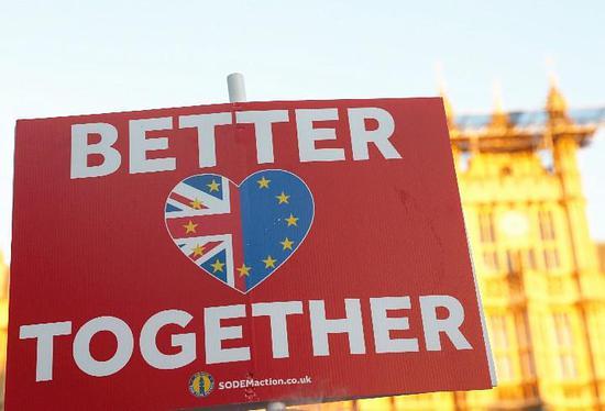 """2月14日,在英国伦敦,反""""脱欧""""人士在议会大厦外手举标牌。(新华社记者韩岩摄)"""