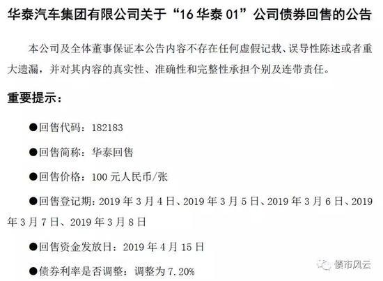 网传华泰汽车遭遇资金困局 债券回售只让提交一半