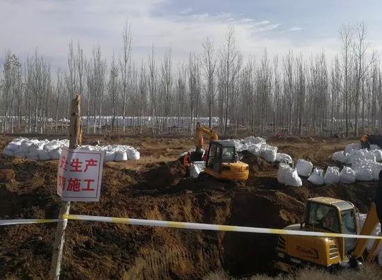 11月11日,宁夏中卫美利林业沙漠污染现场,大型挖掘机在现场进行挖掘清理。尹海月/摄
