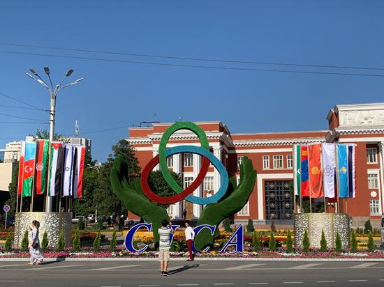 △杜尚别街头的亚信徽标与各国国旗。(央视记者段德文拍摄)