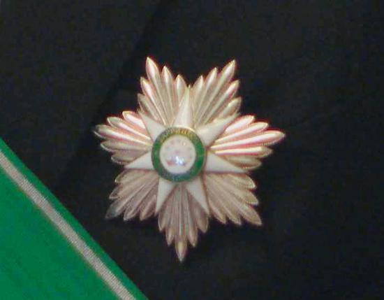 """△在。绿色绶带的映衬下,""""王冠勋章""""熠熠生辉。"""