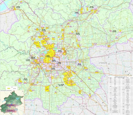 中关村十六园区范围(黄色区域)