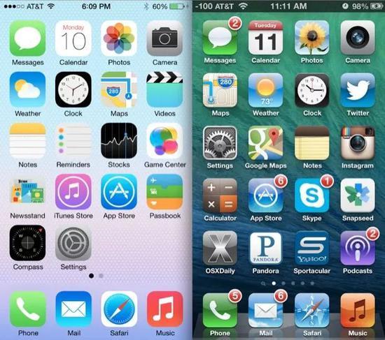从iOS6到iOS7,苹果引领整个互联网世界完成了从拟物到扁平的进化