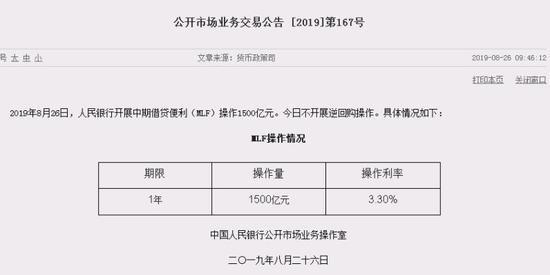 央行开展1500亿MLF操作 中标利率维持3.30%