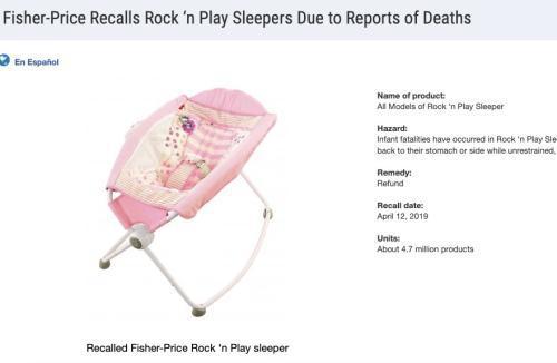 图为费雪婴儿甜睡床召回信息。