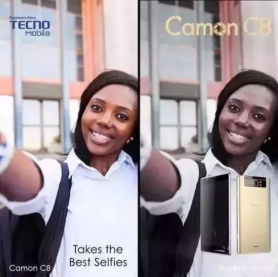 左图为传音手机的拍照效果,右图为普通手机