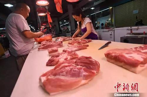 资料图:8月9日,山西太原,民众在菜市场选购猪肉。中新社记者 武俊杰 摄