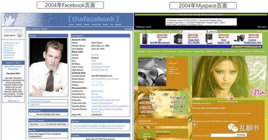 图:2004年Facebook和MySpace界面