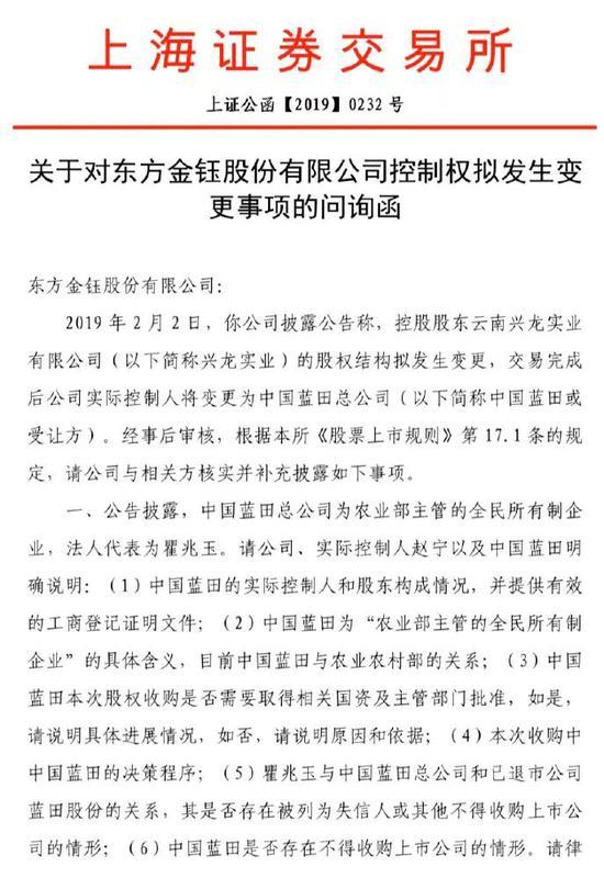 上图为:上交所问询函部分内容,并要求公司2月12日之前回复。
