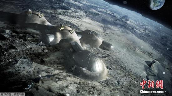 资料图:欧洲航天局发布3D打印月球基地效果图。