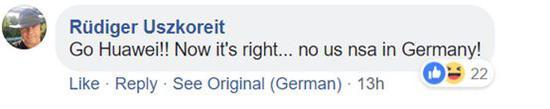 翻译:加油华为!德国不需要美国!