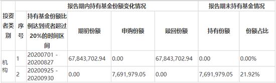 前海开源盈鑫2020年第三季单一投资者持有基金份额比例达到或超过20%的情况