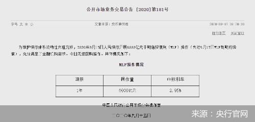 """央行""""平价""""续作6000亿元MLF 9月LPR怎么走?"""
