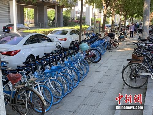 北京某郊区地铁口的共享单车。中新网吴涛 摄