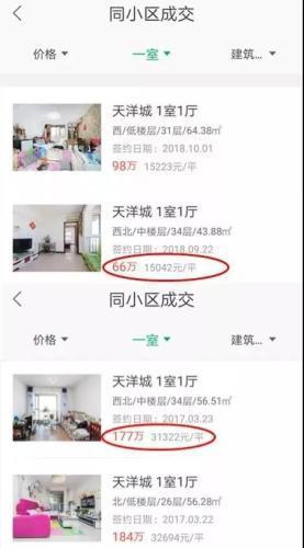 """与2017年3月相比,燕郊天洋城房价已经""""腰斩""""。图片来源:链家APP截图"""