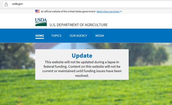 美国农业部网站停更