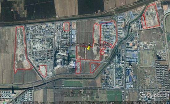 红线内为博汇集团非法填埋固体废物位置(来源:生态环境部)