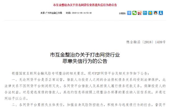 广东:债务关系不因网贷平台倒闭而灭失 将严打逃废债