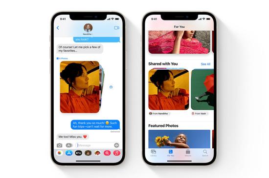 iOS 15 会把你某一个朋友发给你的照片整合在一个文件夹里|Apple