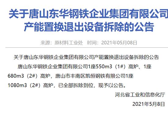 关于唐山东华钢铁企业集团有限公司产能置换退出设备拆除的公告