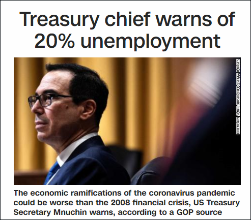 美财长:疫情后的美国经济 可能比08年危机更糟