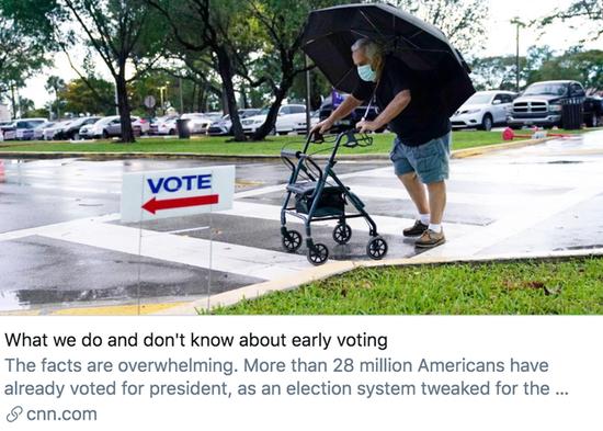 """3167万选民已为美国大选提前投票 两党""""战况""""如何?"""