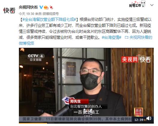 台湾餐饮营业额下降超七成:商家疫情下缩短营业时间,或者干脆歇业