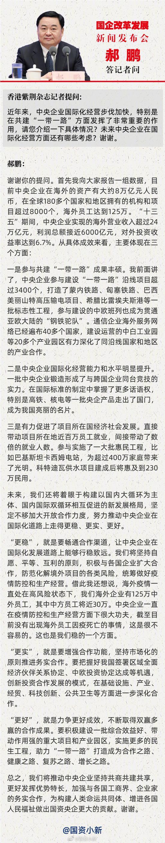 """郝鹏:央企在海外资产约8万亿元 """"十三五""""海外营收超24万亿"""