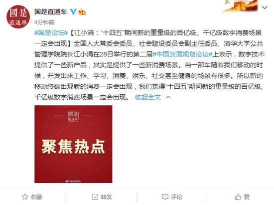 """江小涓:""""十四五""""期间百亿级、千亿级数字消费场景一定会出现"""