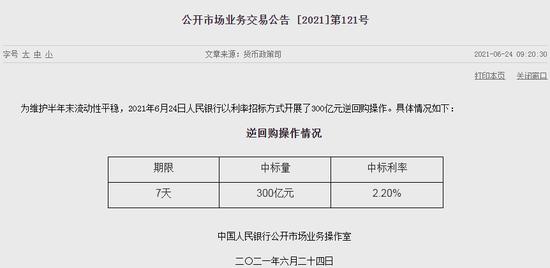 中国央行逆回购操作量3月以来首次超过单日100亿元