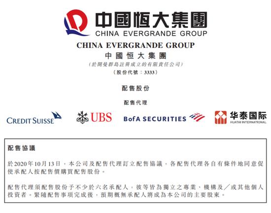 中国恒大折价配股筹资43亿 许家印未参与持股稀释为70.32%