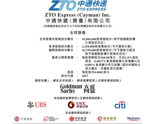 中通快递港股拟发售4500万股股份 预计9月29日上市