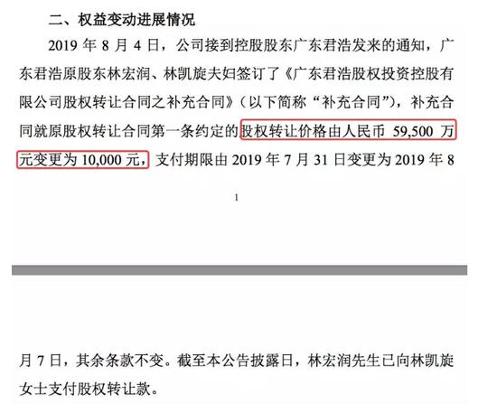 深天地A实控人林凯旋将价值数亿股权1万元过户给丈夫