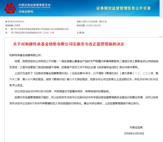 360金融旗下和耕传承基金销售遭河南证监局责令整改