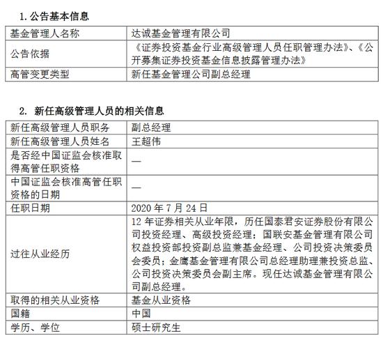 达诚基金新任王超伟、刘晨为副总经理 从业年限均超10年